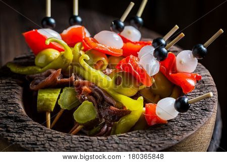 Delicious Banderillas With Peppers, Olives And Anchovies For Spanish Corrida