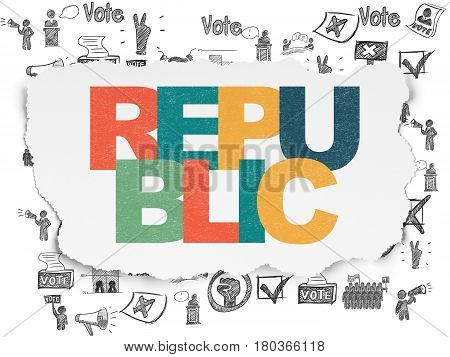 Political concept: Painted multicolor text Republic on Torn Paper background with  Hand Drawn Politics Icons