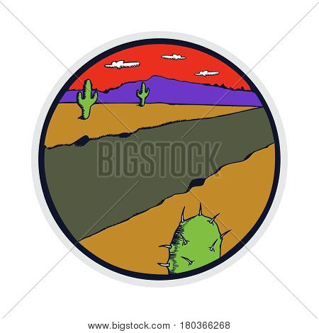 Retro style badge illustration of desert landscape with a cactus of wild west