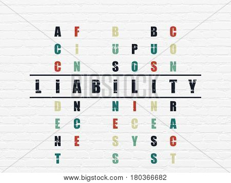 Insurance concept: Painted black word Liability in solving Crossword Puzzle