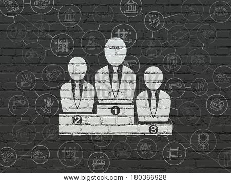 Law concept: Painted white Business Team icon on Black Brick wall background with Scheme Of Hand Drawn Law Icons