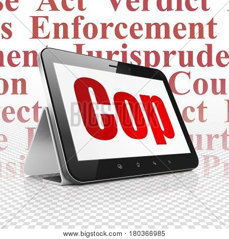 Law concept: Tablet Computer with  red text Cop on display,  Tag Cloud background, 3D rendering