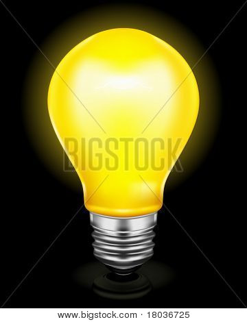 Light bulb on black, bitmap copy