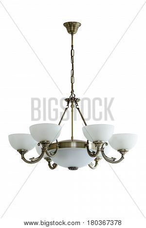 Vintage Chandelier With White Glass Shades. Isolated, White Background.