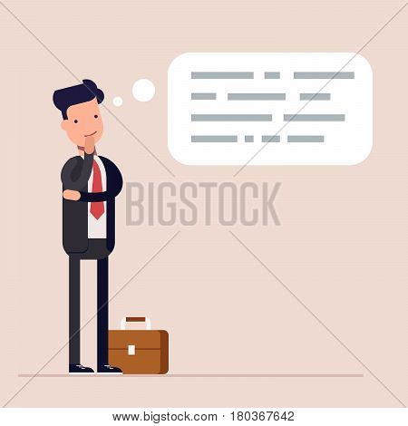 Businessman or manager thinks. Abstract text in speech bubble. Concept of the thought process. Flat characte in cartoon style