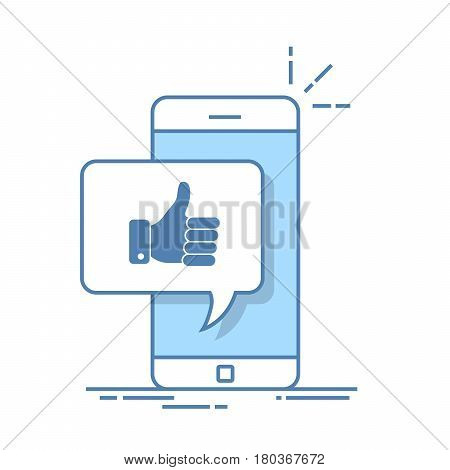 Thumbs up icon with smartphone. Like message on screen, like button. Social network, social media usage on mobile device. Concept for websites, web banner. Line design vector illustration