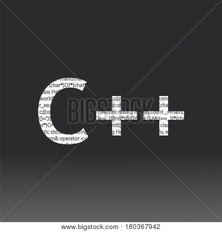 C++ language sign. Vector illustration. C++ programming language on a black background