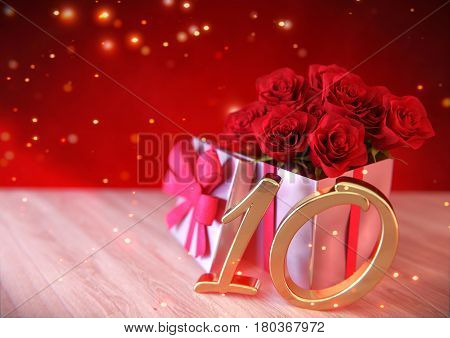 birthday concept with red roses in gift on wooden desk.3D render - tenth birthday. 10th