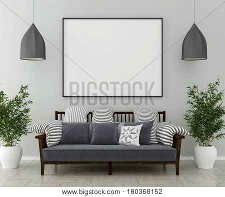 Two chandeliers one sofa and indoor plants on the wall is an empty picture frame. 3D render