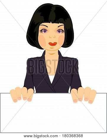 Making look younger attractive woman brunette keeps poster
