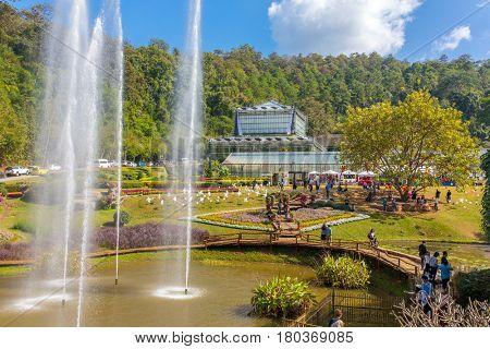 Chiang Mai, Thailand - December 29, 2016: Queen Sirikit Botanic garden near Chiang Mai, Thailand