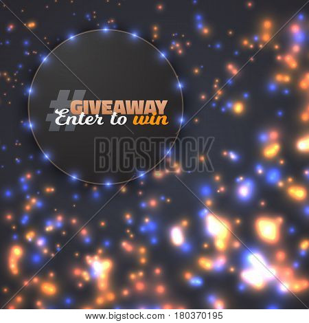 Illustration of Vector Button Giveaway Competition Template. Realistic Button with Blurred Glow Light Enter to Win Prize Concept