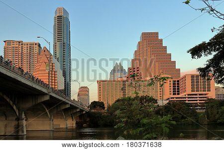 Austin Texas. Downtown Skyline and Congress Avenue Bridge