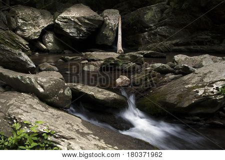 Water flows around rocks and boulders near Ocoee, Tennessee