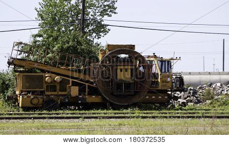 Montreal, Quebec, August 20, 2016 -  Close up view of an old locomotive work engine in the CP Rail Train Yards in Cote Saint Luc in Montreal, Quebec on a sunny day in August.
