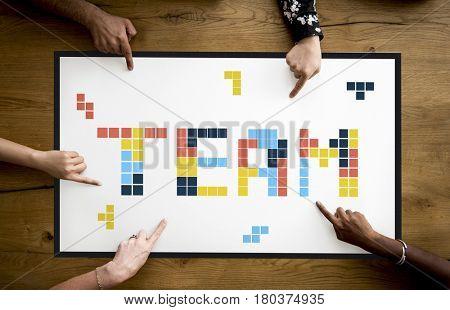 8 bit words illustration of team corporate