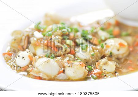 stired fried scallop with vegetable dish ,scallop