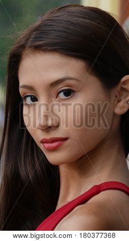 Portrait of a Pretty Hispanic Female Teen