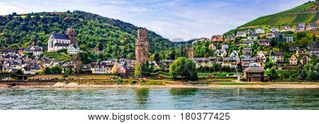 Germany travel - cruise over Rhine valley - pictorial medieval town Oberwesel
