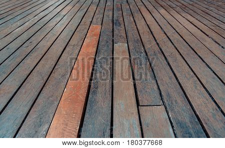 Wood Background, Perspective Wooden Floor. Vintage Tone.