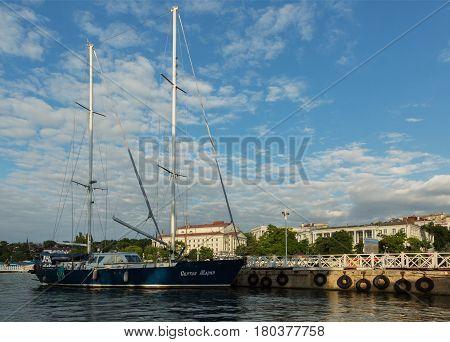 Sevastopol, Russia - June 09, 2016: Sailing Maria Motor yacht in Sevastopol