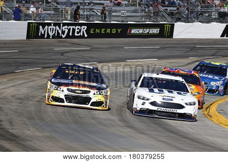 April 02, 2017 - Martinsville, Virginia, USA: Brad Keselowski (2) and Chase Elliott (24) battle for position during the STP 500 at Martinsville Speedway in Martinsville, Virginia.