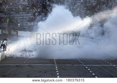 April 02, 2017 - Martinsville, Virginia, USA:  Brad Keselowski (2) celebrates after winning the STP 500 at Martinsville Speedway in Martinsville, Virginia.