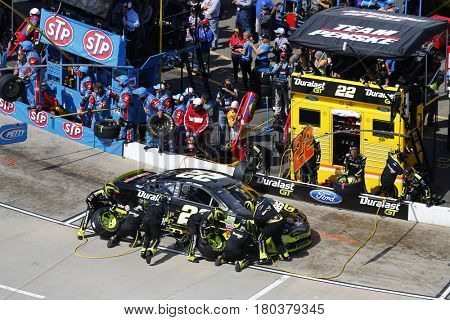 April 02, 2017 - Martinsville, Virginia, USA: Joey Logano (22) pits his Ford Fusion during the STP 500 at Martinsville Speedway in Martinsville, Virginia.