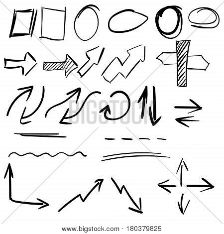 Hand draw arrow circle, square and underline