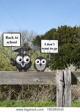 Comical teacher with back to school message and reluctant student perched on a countryside fence