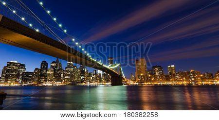 New York City, Brooklyn Bridge at night - United States
