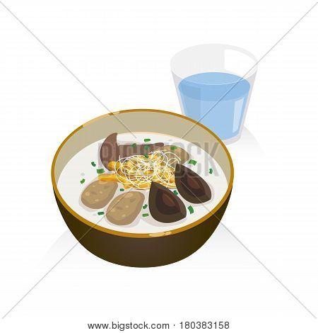 A bowl of porridge with pork liver preserved egg and deep fried doughstick.