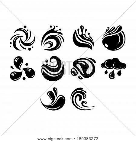 Flat Black Water Icon Set