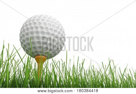 Golf Ball On Tee With Green Grass