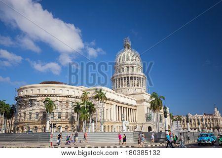 CUBA. APRIL - 8, 2017: Havana - Varadero. Cars, street, people.