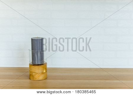 Gray Candle In The Candel Holder 01