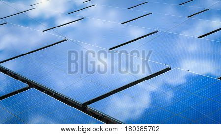 3d rendering blue solar panels in a row