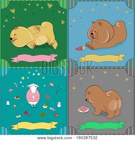 Set of vintage greeting cards with cartoon animals. Pets chow-chow. White sheep. Banners for custom text. illustration