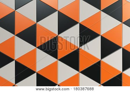 Pattern Of Black, White And Orange Triangle Prisms