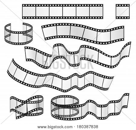 Vector film strip set. Film frames collection. Vector illustration