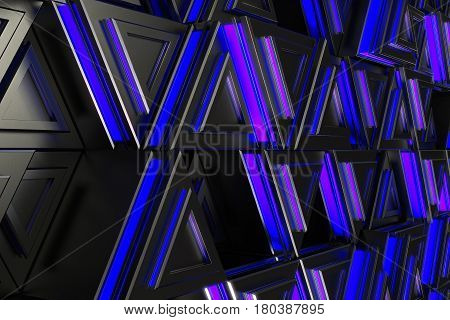 Pattern Of Black Triangle Prisms With Blue Glowing Lines