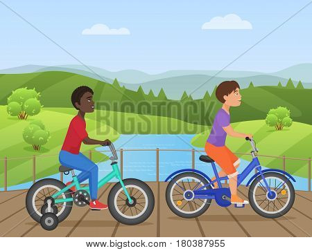 White and african kids riding bikes, Child riding bike, kids on bicycle in the park vector illustration