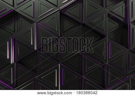 Pattern of black triangle prisms with violet glowing lines. Wall of prisms. Abstract background. 3D rendering illustration.