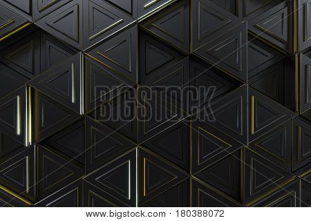 Pattern of black triangle prisms with yellow glowing lines. Wall of prisms. Abstract background. 3D rendering illustration.