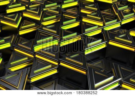 Pattern Of Black Triangle Prisms With Yellow Glowing Lines