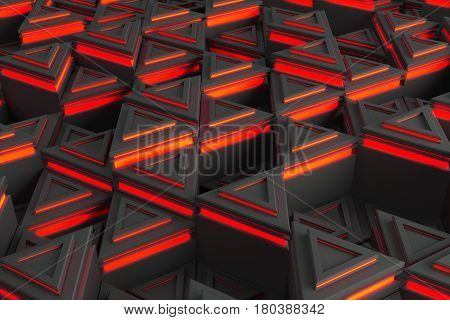 Pattern Of Grey Triangle Prisms With Red Glowing Lines