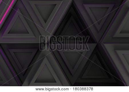 Pattern Of Grey Triangle Prisms With Violet Glowing Lines