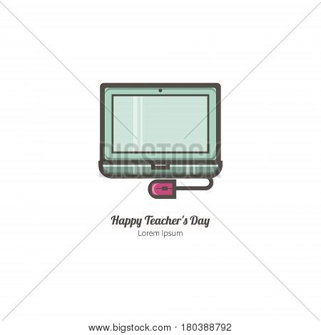 Simple illustration of computers. Isolated background. The perfect logo for your business. The educational series.