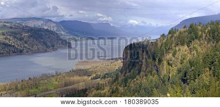 Crown point and the Columbia River Gorge panorama Oregon state.