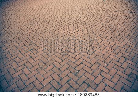 Old Brick Footpath Background Walk Way. Vintage Tone